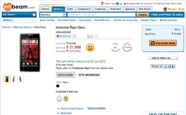 Motorola RAZR Maxx up for pre-order on Infibeam
