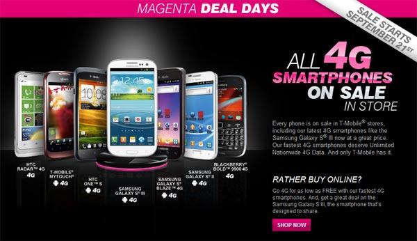 t mobile holds its magenta deal days promotion all 4g. Black Bedroom Furniture Sets. Home Design Ideas