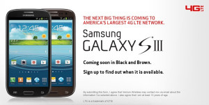 Verizon Wireless Samsung Galaxy S3 Brown Black