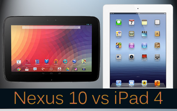 nexus 10 vs ipad 4