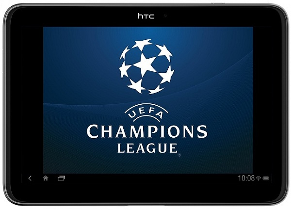 HTC tablet with UEFA wallpaper