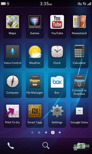 blackberry z10 apps screen aa