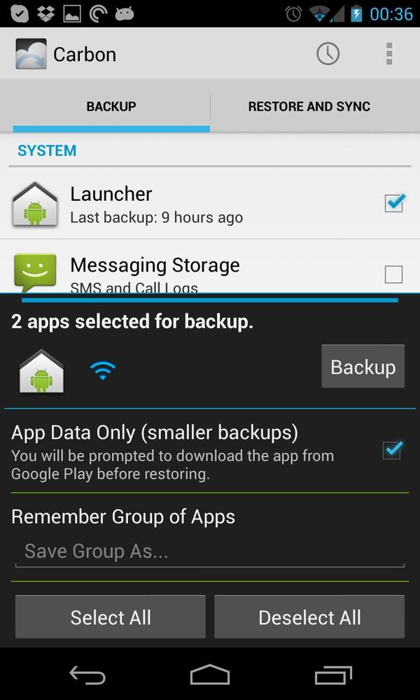 Advanced backup settings.