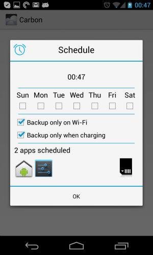 Setting up backup schedules. (Original screenshot)