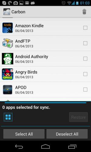 Synchronising devices. (Original screenshot)