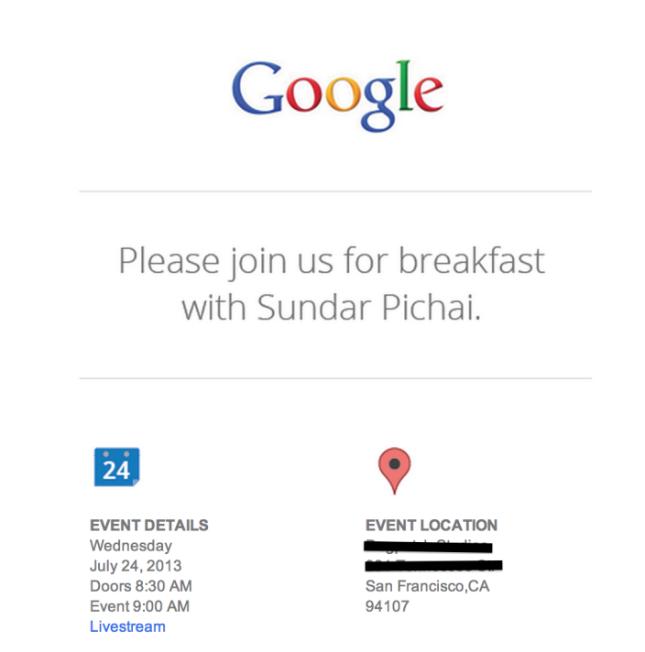 Google Breakfast with Sundar Pichai event