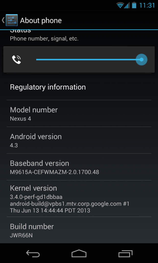Nexus 4 running Android 4.3