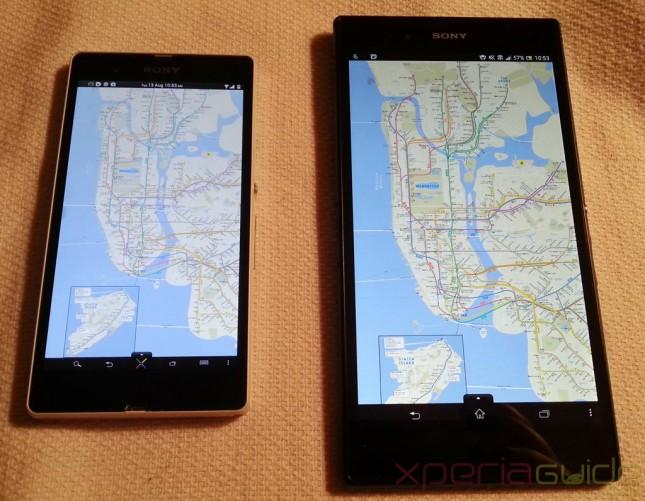 Xperia-Z-Ultra-Vs-Xperia-Z-Maps-layout