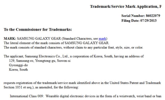 Galaxy Gear trademark