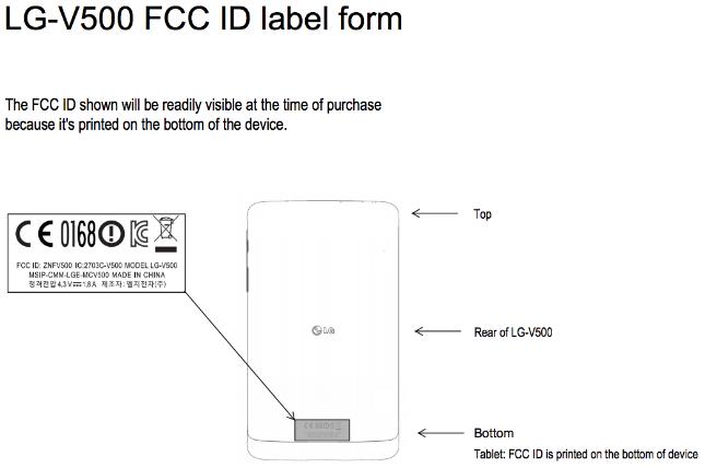 LG G Pad LG-V500 FCC