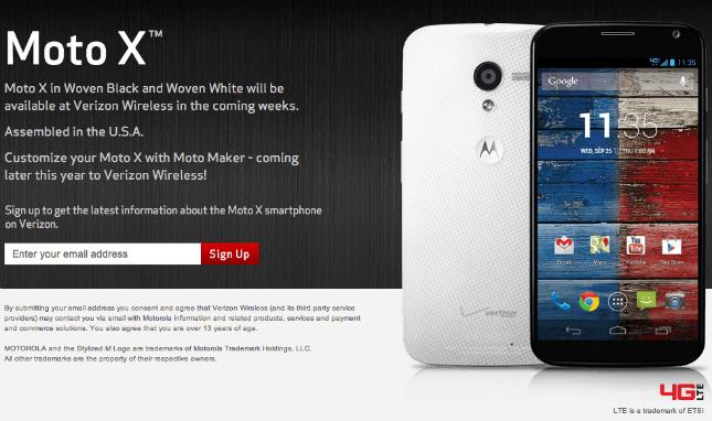 Verizon Moto X sign up page