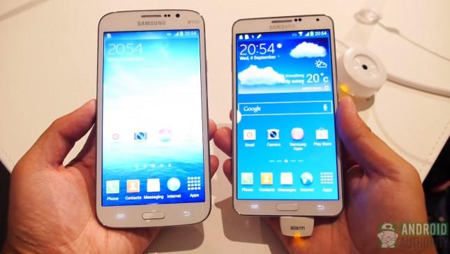Galaxy Note 3 vs Galaxy Mega 5.8 fron hands on