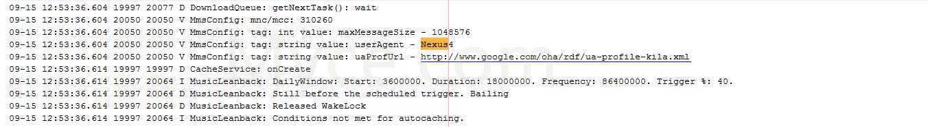 Android 4.4 KitKat on Nexus 5 log file