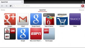 Opera Tablet UI Speed Dial