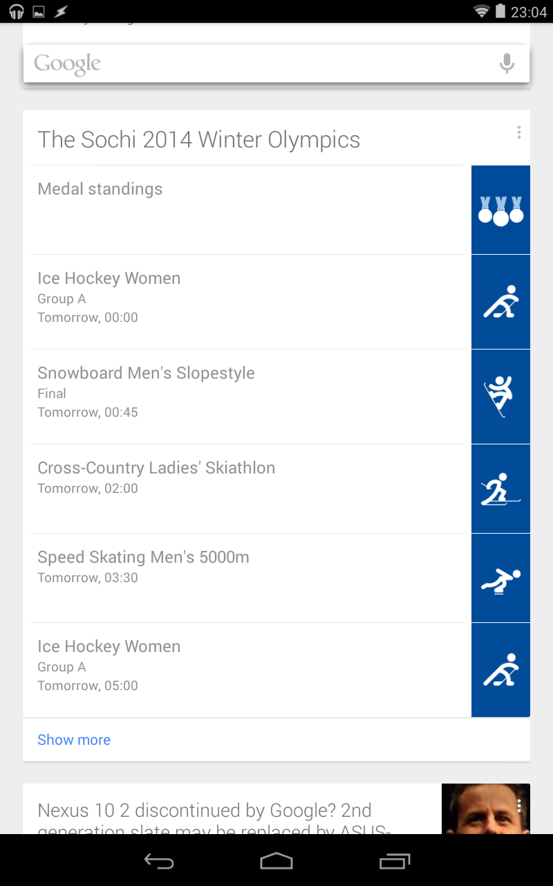Google Now Olympics Card