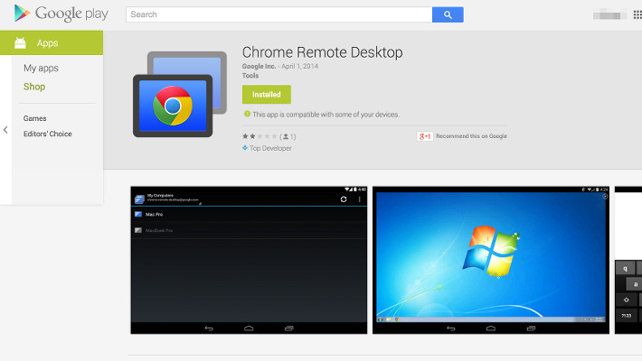 Chrome Remote Desktop Play Store