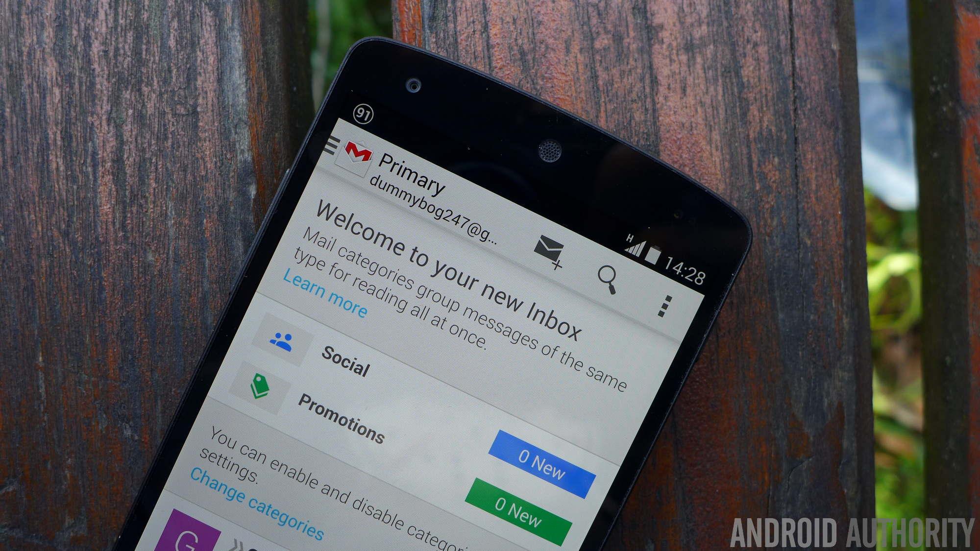 google gmail nexus 5 4