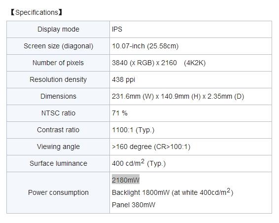 japan display 4k display specs