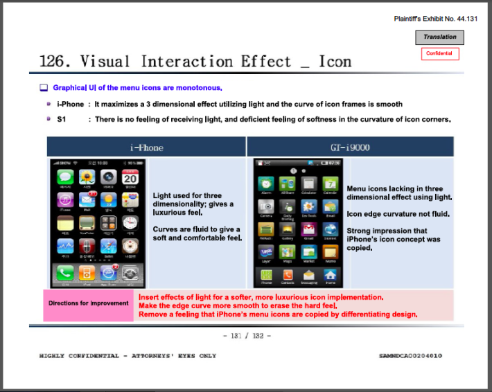 Samsung's internal design slides were a key part of Apple's success in the 2012 trial