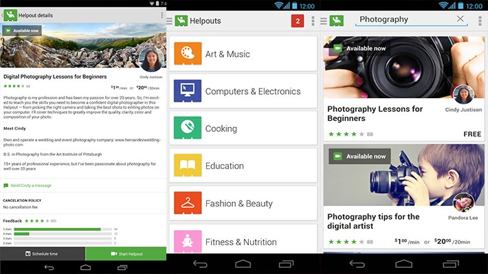 Google Helpouts Android