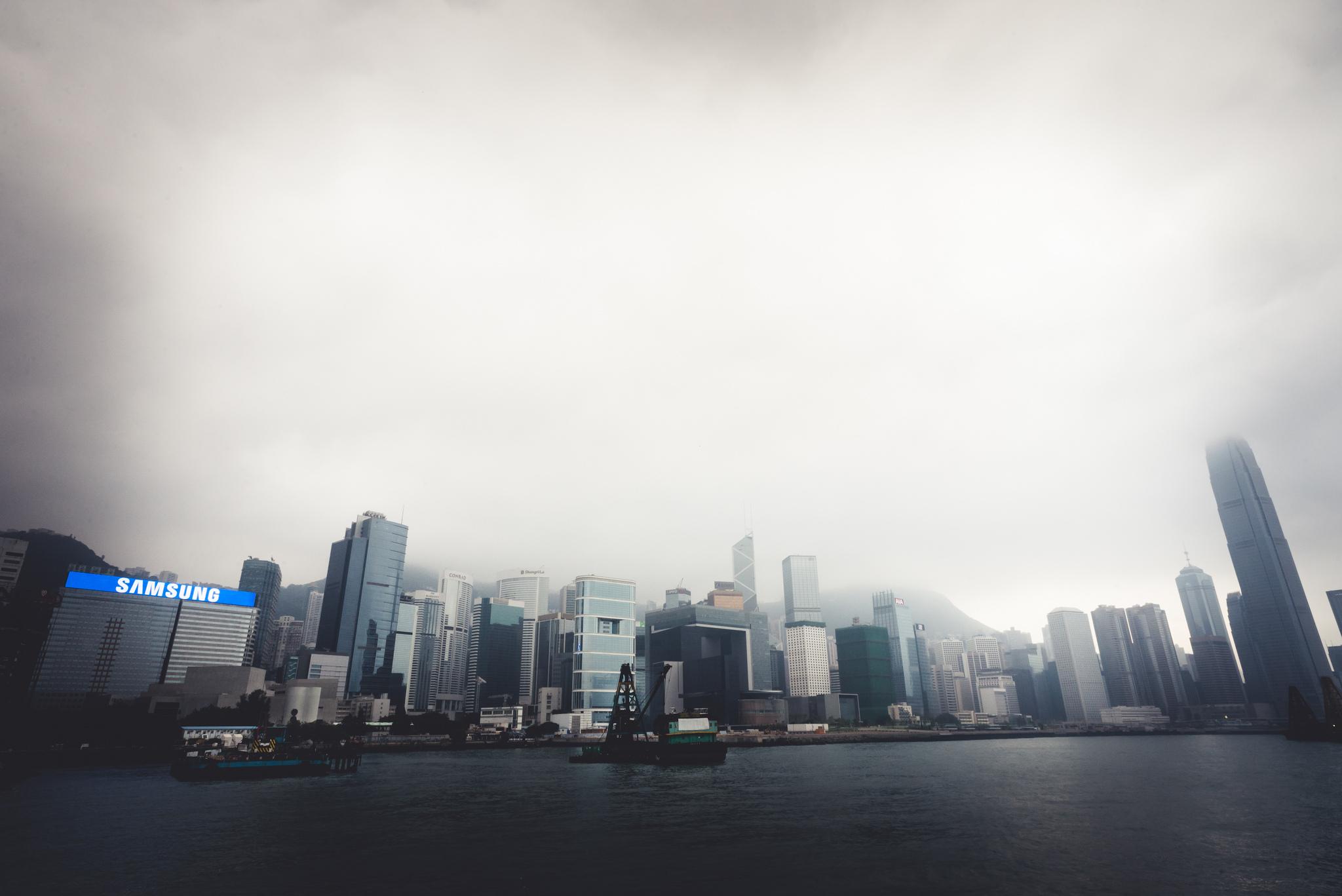 Gloomy skies over Hong Kong's harbor