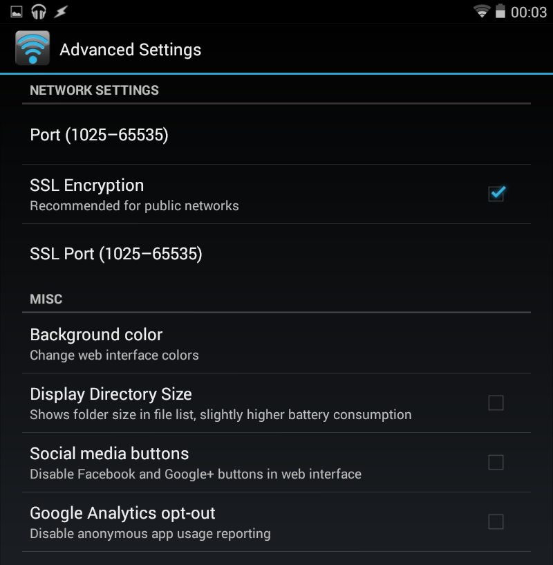 WiFi File Transfer Pro Advanced Settings