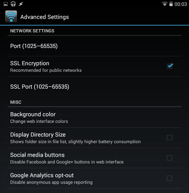 WiFi File Transfer Pro Advanced Settings