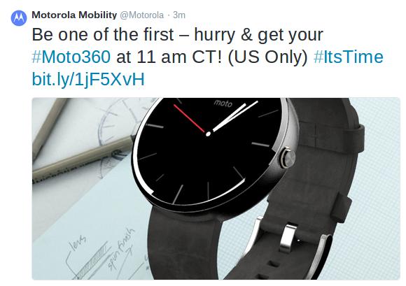 Motorola Moto 360 Tweeted live on site