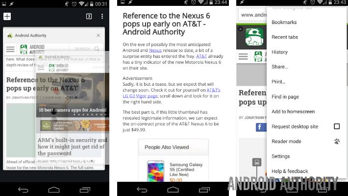 Chrome Beta v39 Reader Mode
