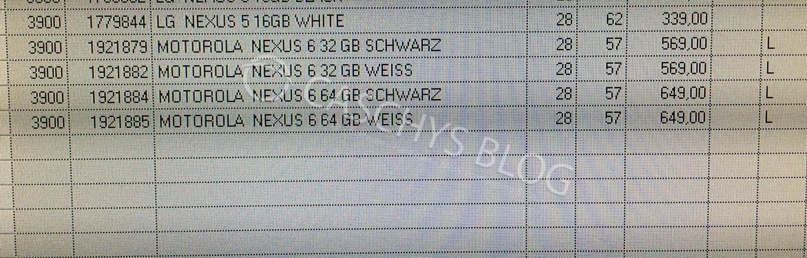 Motorola-Nexus-6 prices leak