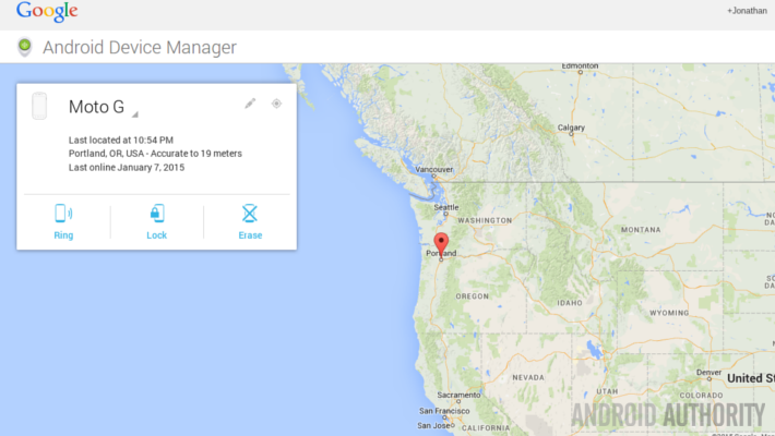 Android Device Manager Location map big