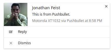 Pushbullet Web Notification Popup