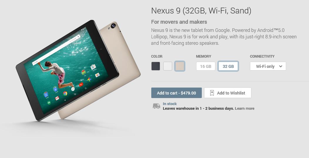 nexus 9 sand play store