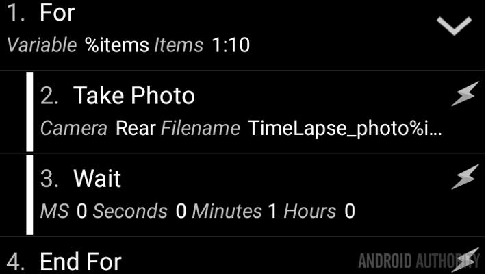 Tasker time lapse For loop Task full