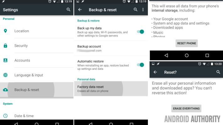 Android Lollipop Nexus 7 factory reset steps