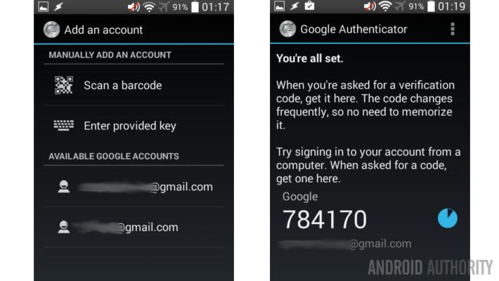 Google Authenticator first run
