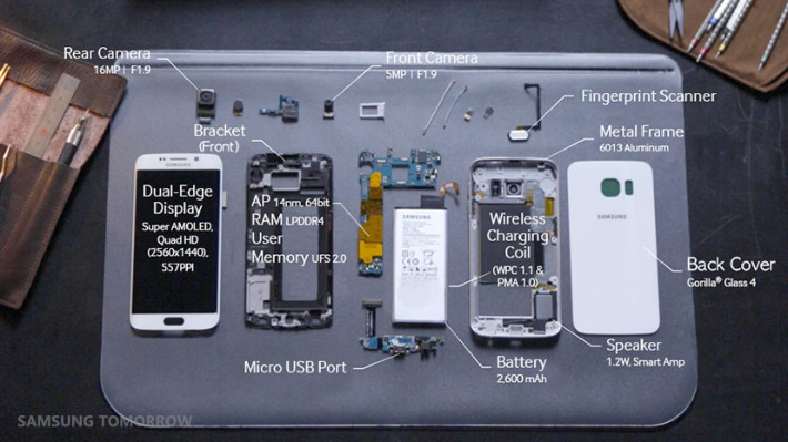 samsung galaxy s6 edge components teardown