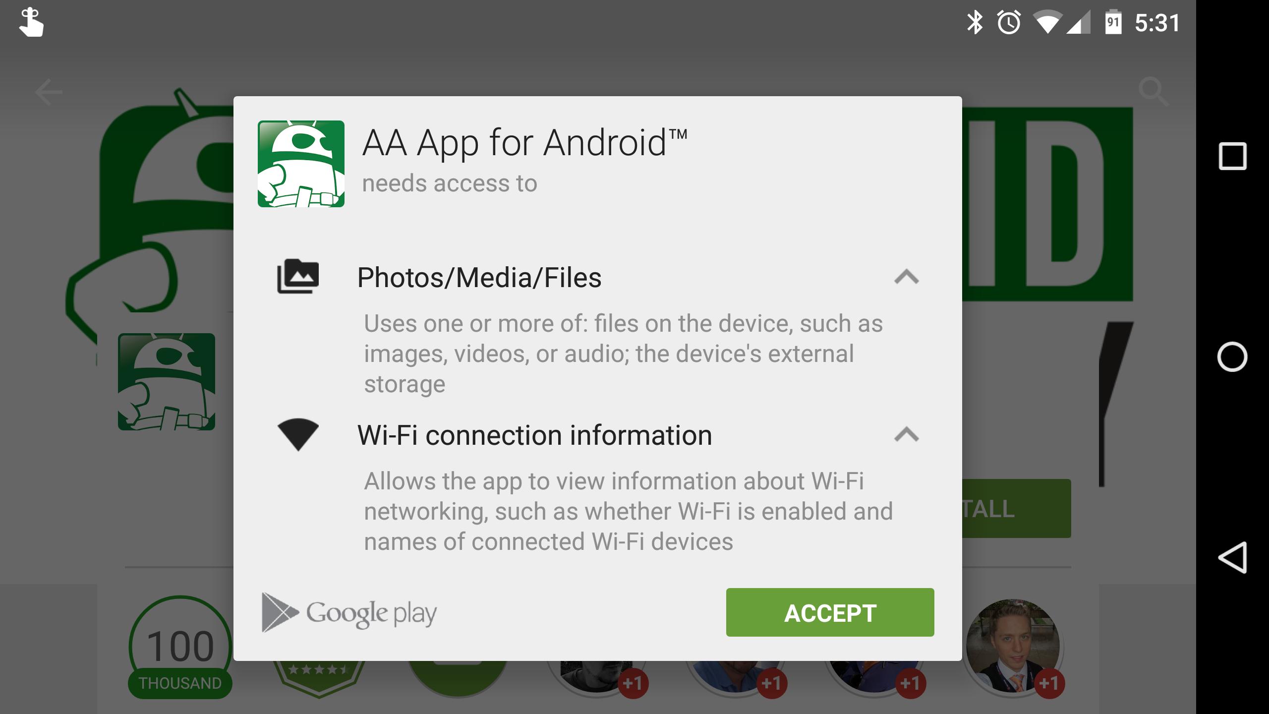 AA App permissions