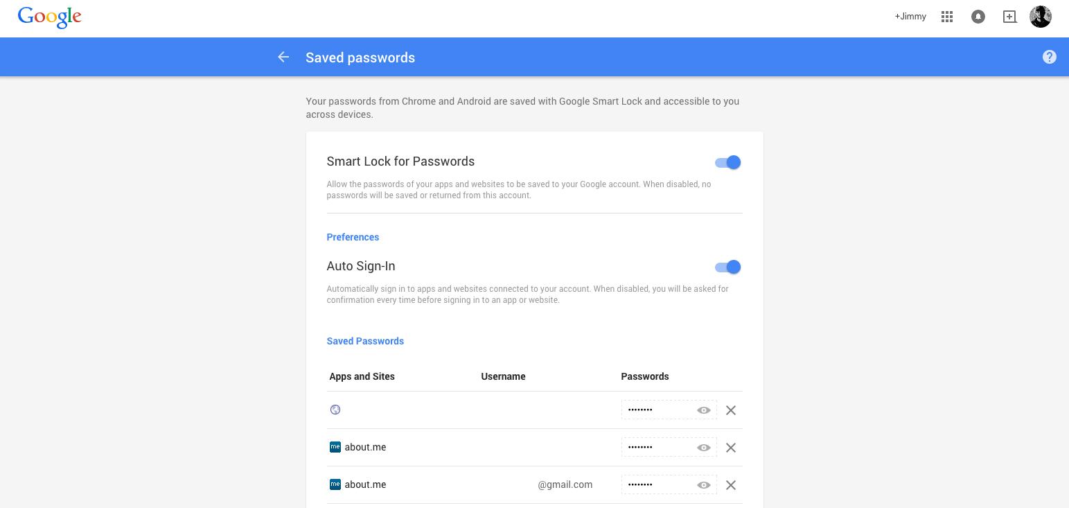 google smart lock passwords