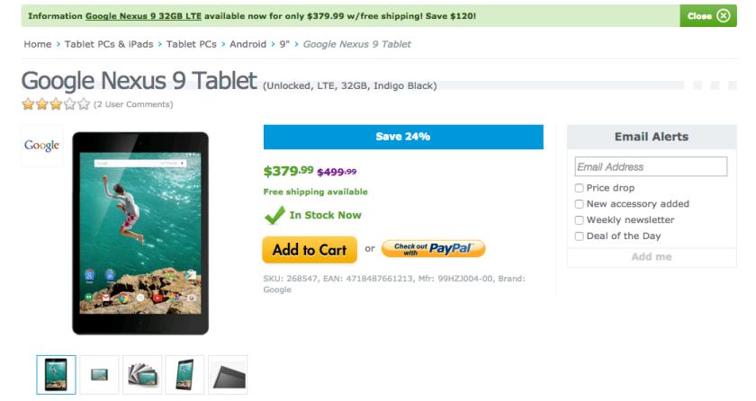 Nexus 9 deal