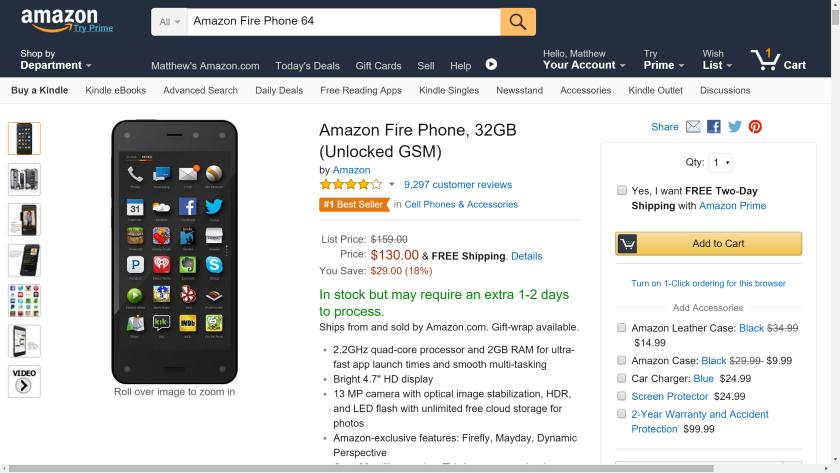 Amazon Fire Phone $130