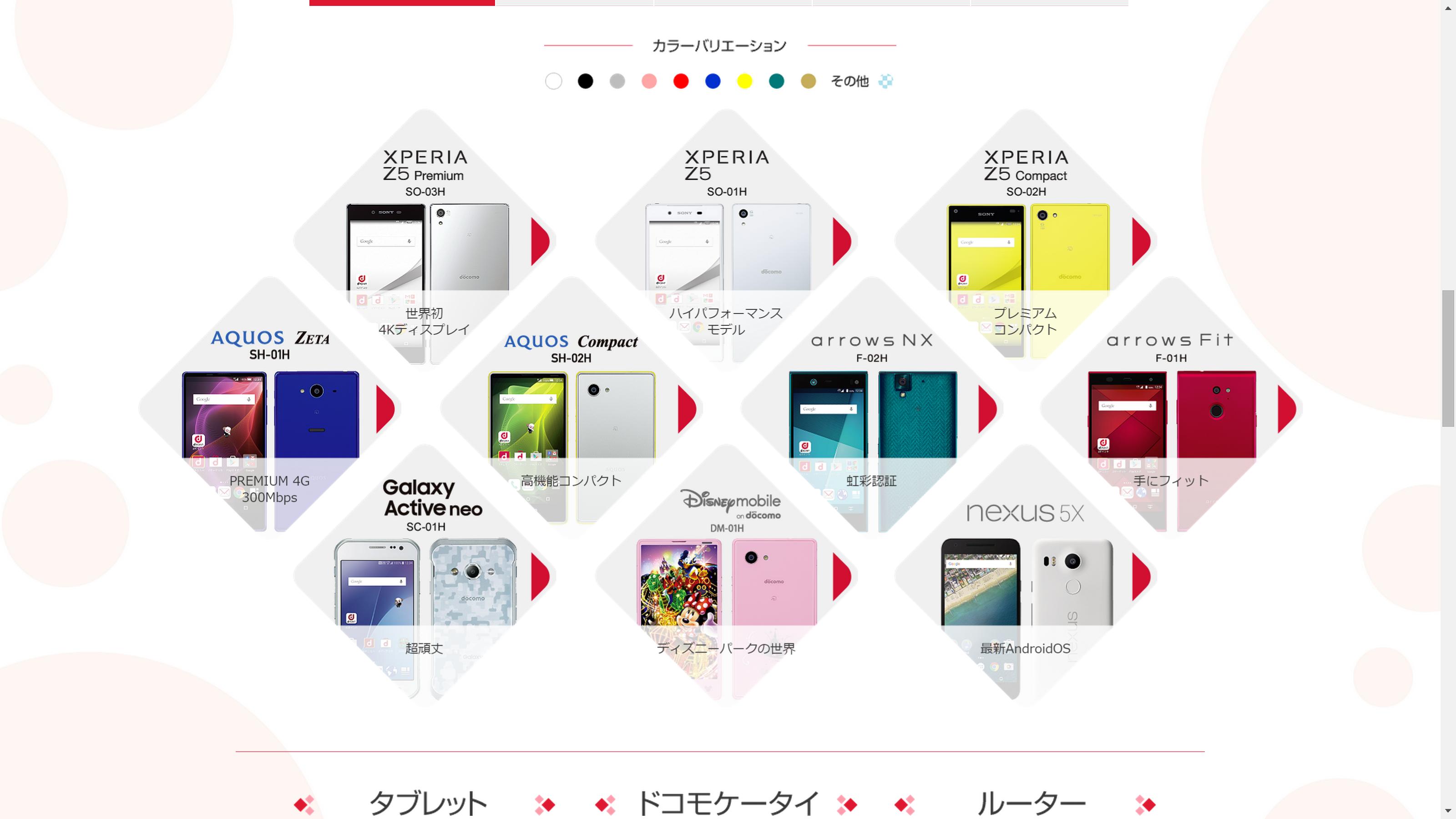 NTT docomo Product Line-Up 2015-2016