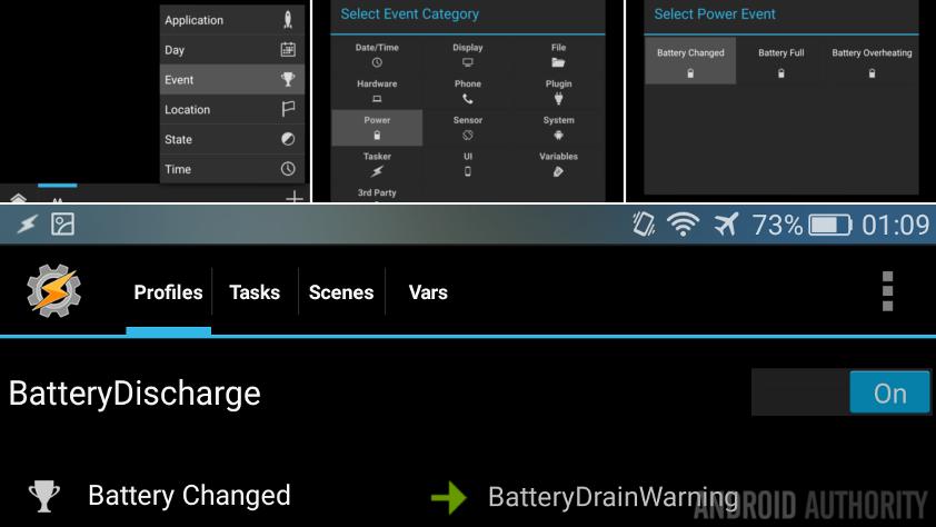 Tasker BatteryDrainAlarm Profile