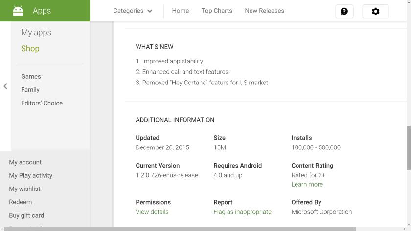 Cortana removal keyword