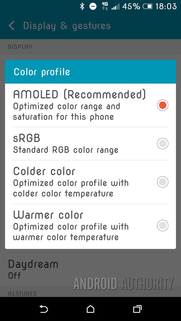 HTC One A9 Display Settings
