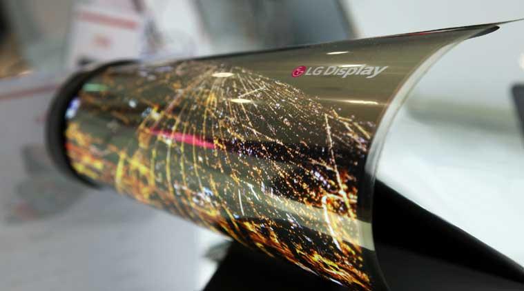 LG flexible newspaper OLED display