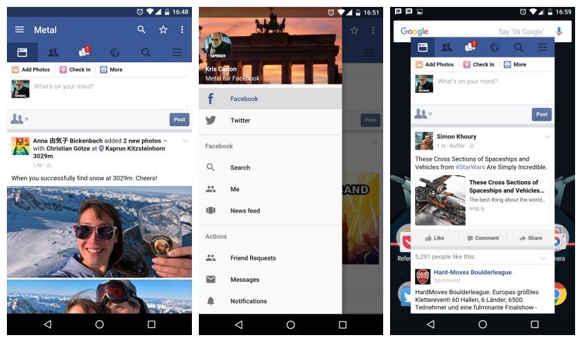 Metal for Facebook main nav bar