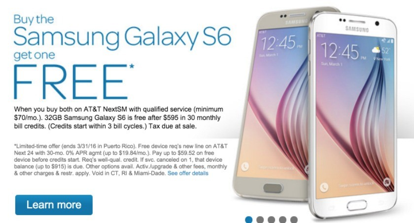 AT&T free Galaxy S6 offer