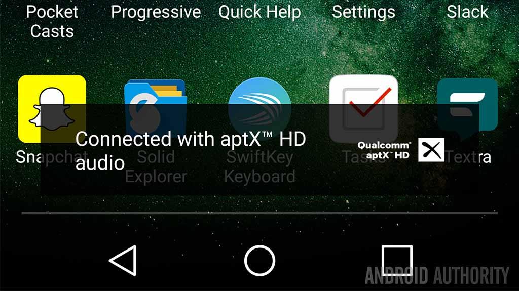 Qualcomm AptX HD notification