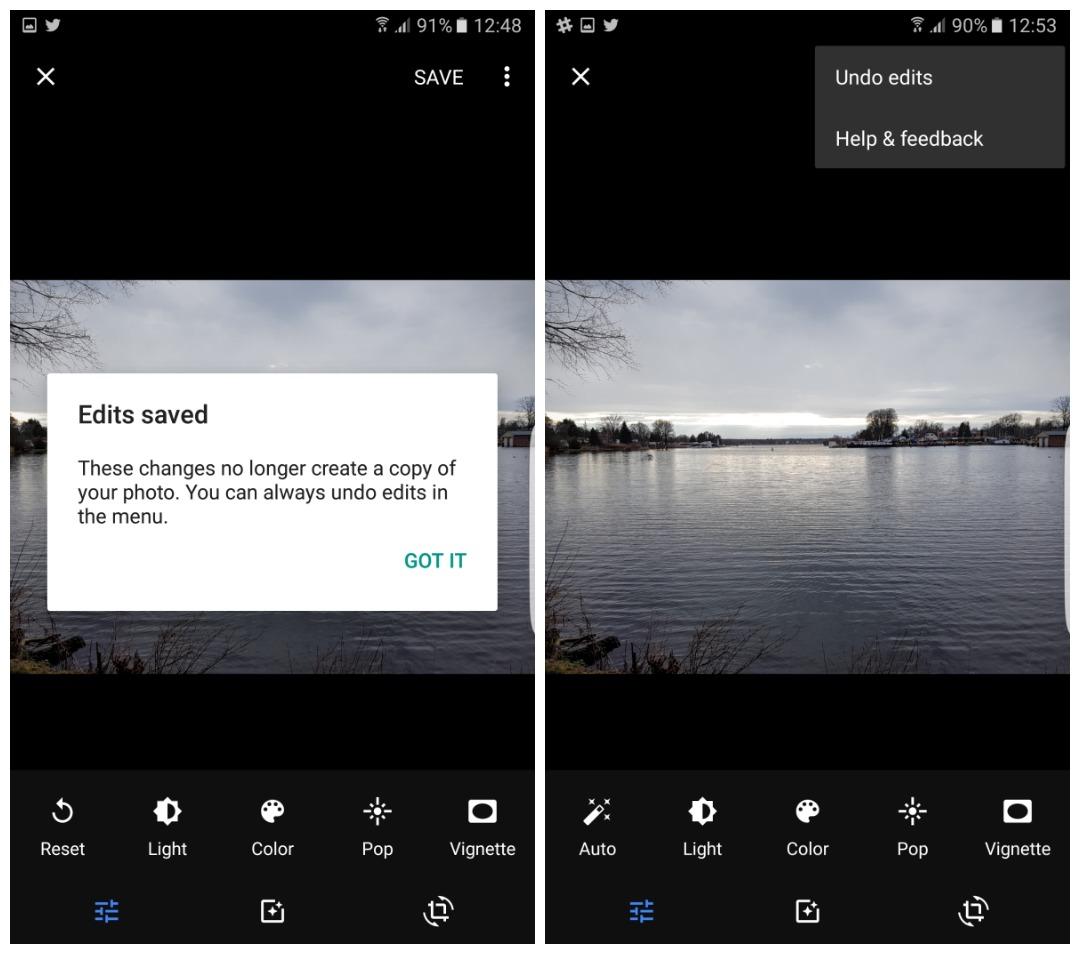 Google Photos undo edits